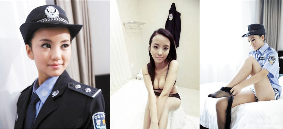 The photos that got Wang, a 23-year old model in China, in serious trouble